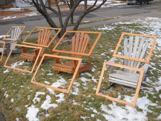 Picture frames suntanning in my front yard