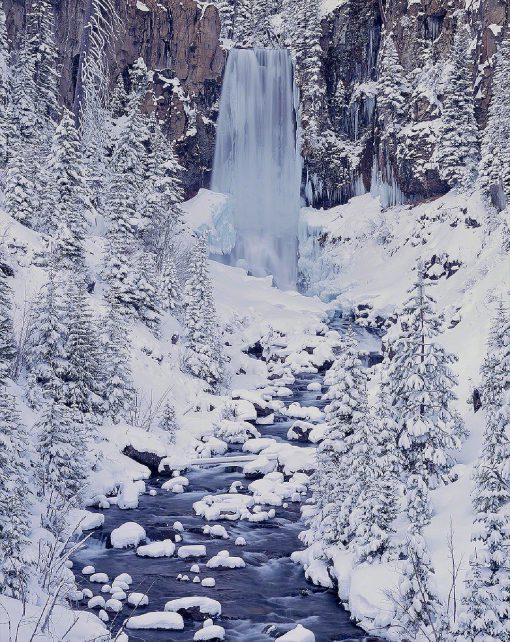 Tumalo Falls. Winter In Bend, Oregon.