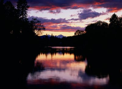 Sunset over Mirror Pond in Bend, Oregon.