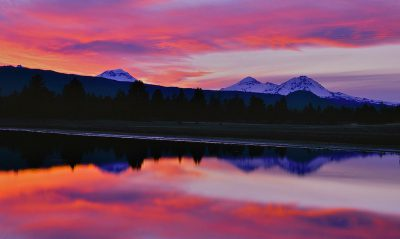 Three sisters Reflection, Tumalo Reservoir