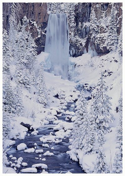 Tumalo Falls in winter Greeting Card