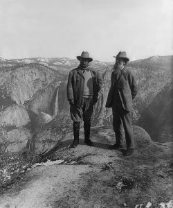 John Muir and Teddy Roosevelt near Glacier Point, Yosemite National Park
