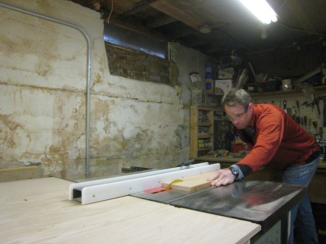 Ripping wood to width on my table saw.