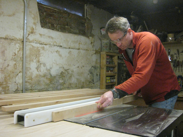 "Cutting a ""rabbit"" out of the back of a piece of framing wood"