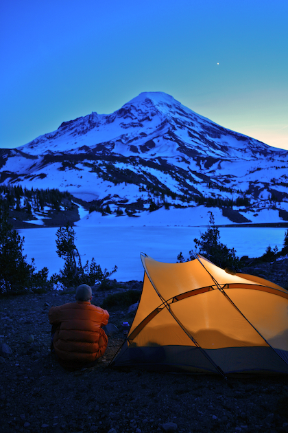 South Sister and my camp above the frozen Camp Lake just after sunset
