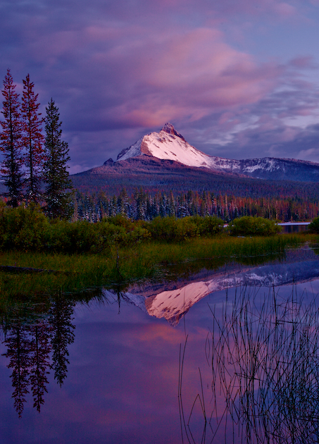 Mt. Washington reflected in Big Lake, high in the Central Oregon cascades