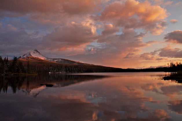 Mt. Washington and pastel skies reflected in Central Oregon's Big Lake