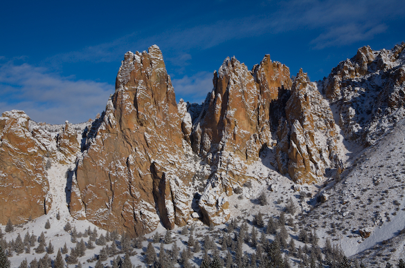 The Monument and snow at Smith Rock State Park