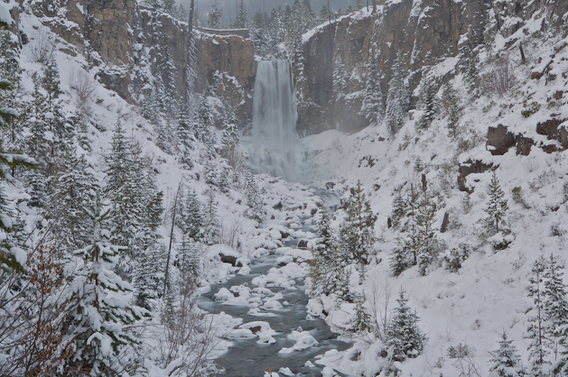 Bend, Oregon's Tumalo Falls after Central Oregon's first significant snow of 2008.