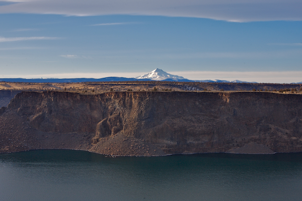 photo/picture of Mt. Jefferson high above the basalt walls of Lakes Billy Chinook