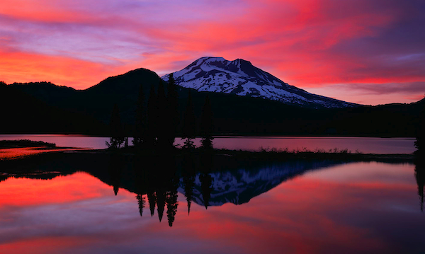 Photograph/Picture of South Sister reflected in Sparks Lake in the Central Oregon Cascades