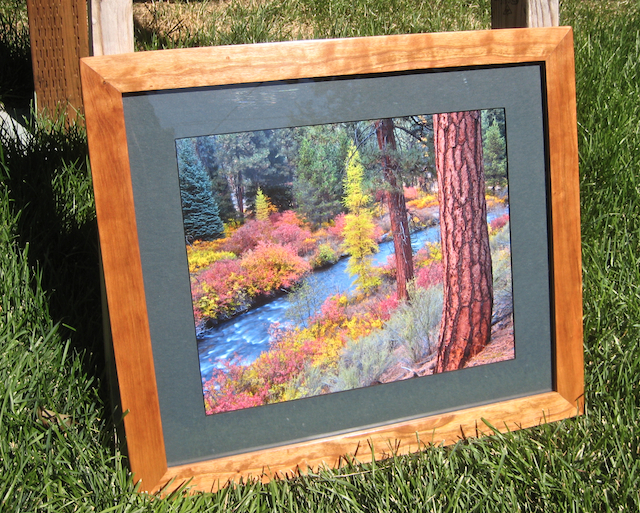 Photo of framed 11x14 inch print of Bend, Oregon's Shevlin Park in Autumn.