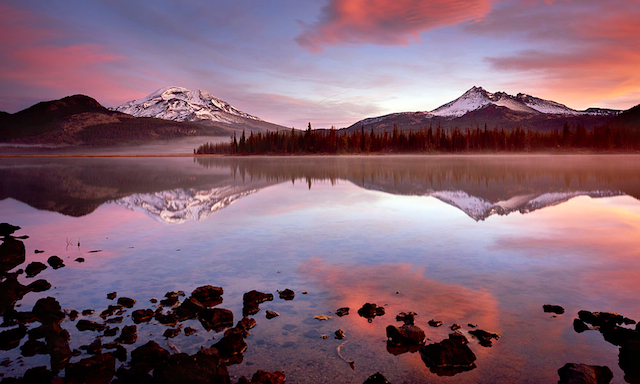 """Sparks Lake Sunrise"" fine art Photograph captured with my 4x5 camera at Sparks Lake near Central Oregon's Cascade Lakes Highway"
