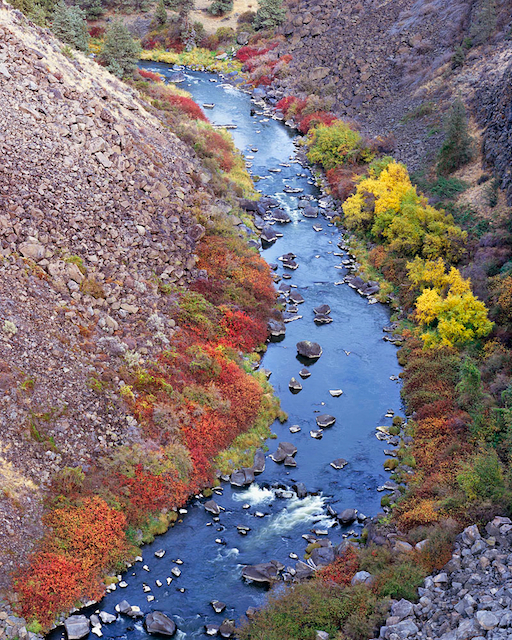Oregon's Crooked River Canyon with brilliant autumn color