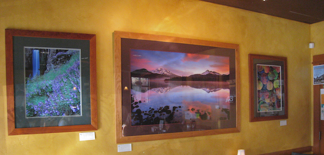 My Landscape PHotography hanging at Sage Cafe, at the Northwest Crossing, Bend Oregon.