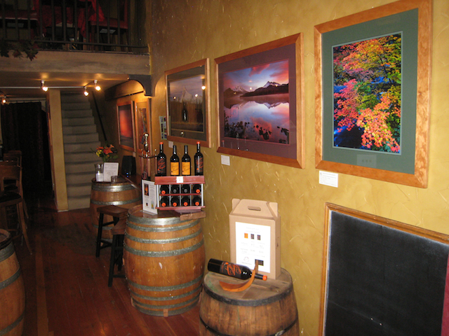 My fine art photographs hanging at the Volcano Vineyards mothership in downtown Bend.
