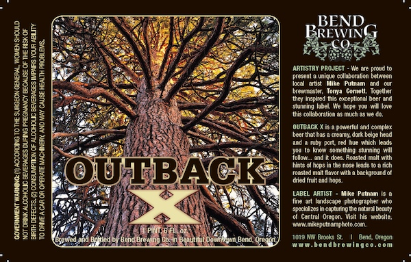 Outback X Beer label from the BEnd Brewing Company!