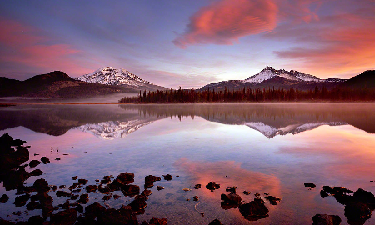 sparks lake, oregon lake,landscape photo,bend oregon,central,fine art photography