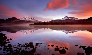 sparks lake,bend oregon,sunrise,cascade lakes highway, oregon water