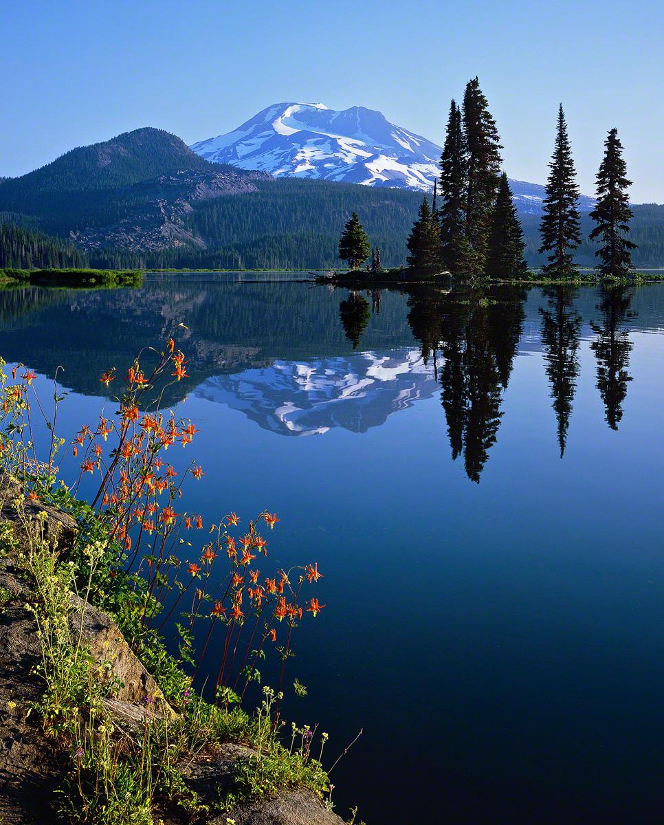 sparks lake,morning elegance,fine art photo,landscape photo,columbine,