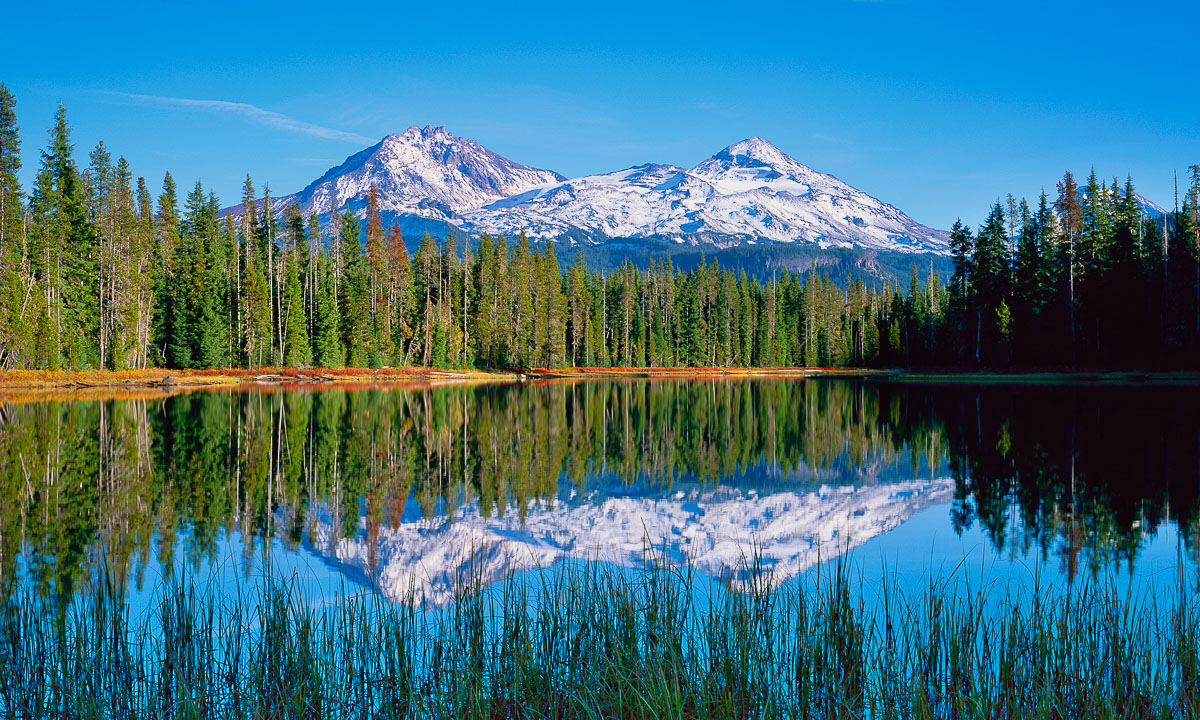 Scott Lake in Autumn Three Sisters Reflection