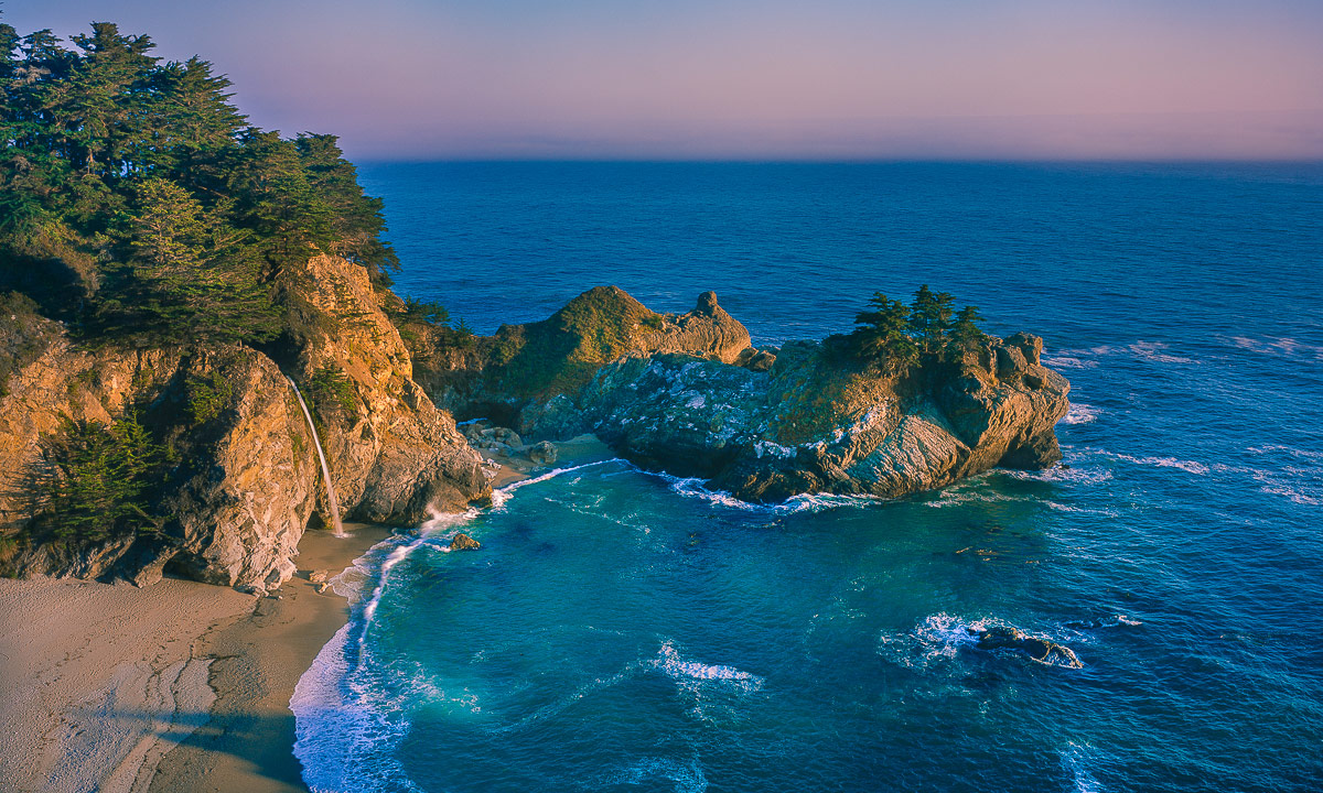 Big Sur, California, McWay Falls, Julia Pfeiffer Cove, beach,waterfall, beach sunset