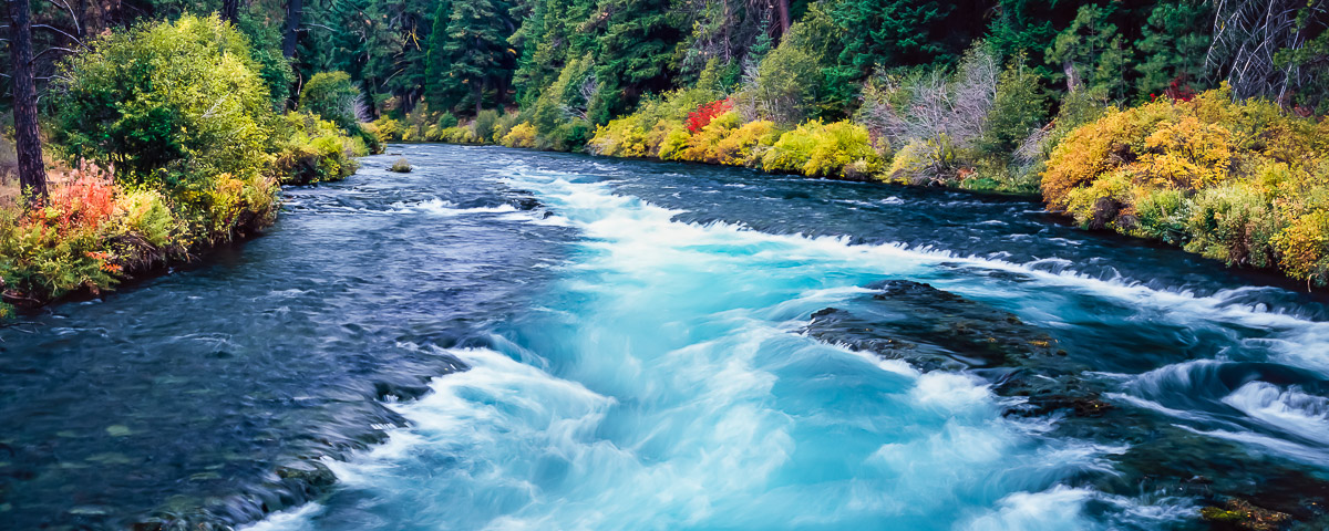Wizard Falls Panorama Fine Art Print, Metolius River in Autumn