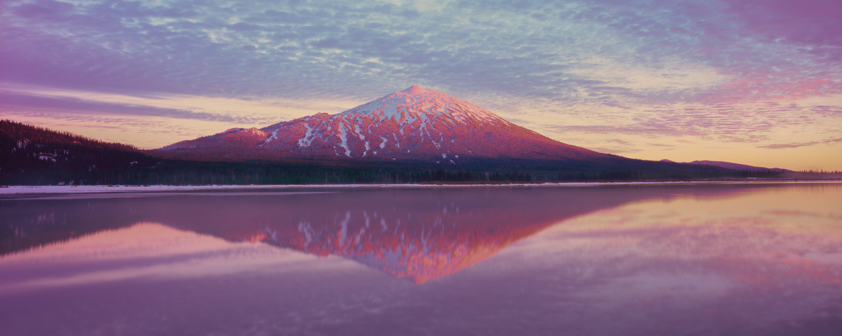 Mt.Bachelor Bliss Panorama Fine Art Print, Sparks Lake,sunset
