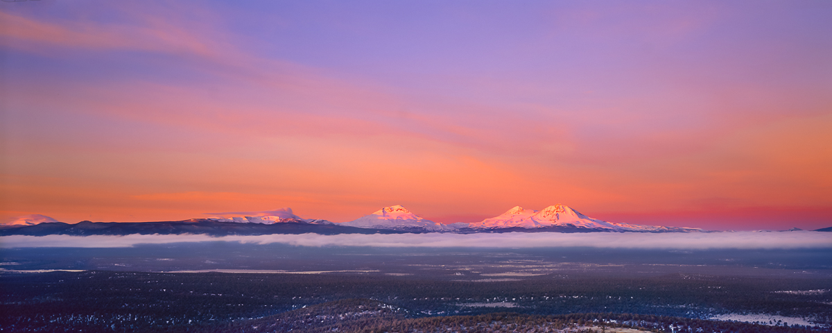 Oregon Three Sisters Alpenglow Panorama landscape photograph,fine art print