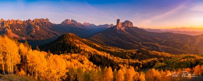 Cimarron Ridge panorama,Chimney Rock,Courthouse mountain, Sneffels Range, Sanjuan Mountain Colorado,aspen Trees